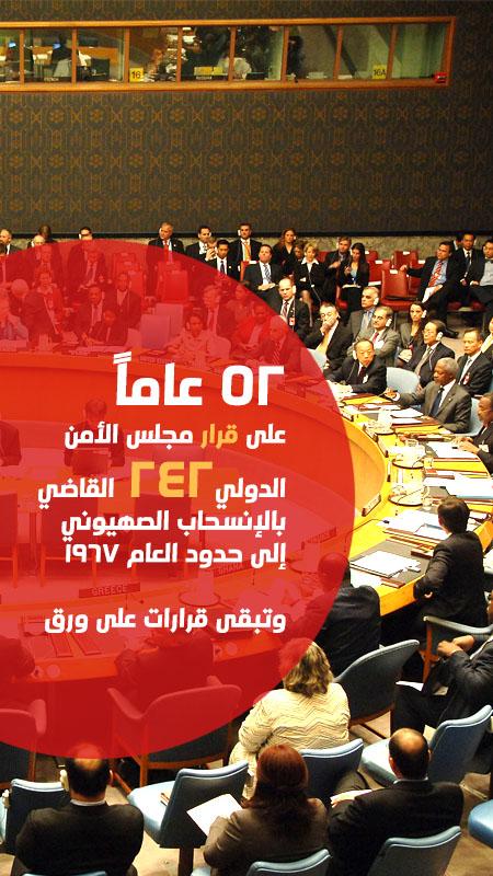 52 عاماً  على قرار مجلس الأمن الدولي242 القاضي بالإنسحاب الصهيوني إلى حدود العام 1967